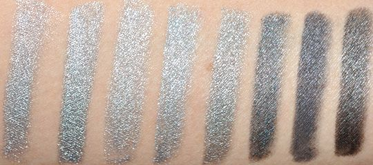 Silver & Gray Eyeliner Comparisons & Dupes: Milani Silver, L'Oreal HIP Silver Lightning, Make Up For Ever #8L, Urban Decay Dime, Guerlain Silver, Urban Decay Gunmetal, CoverGirl Silver Spark, Urban Decay Uzi