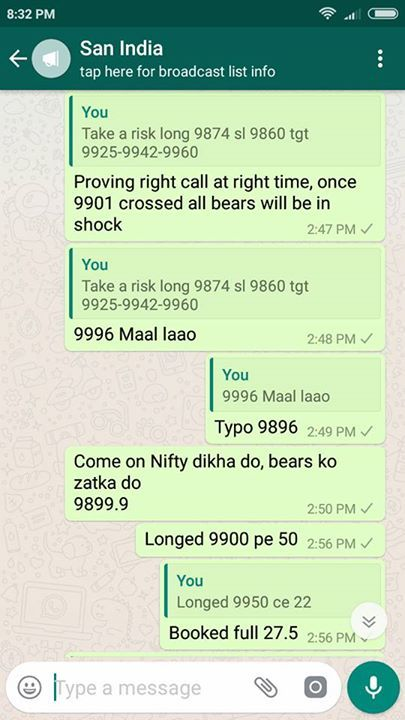 Finally busy day over all classes finished till tomorrow relaxed.  Awesome day full on stock n stock market discussions plus trading handsome profit.  Yesterday informed Gap up n today it happened  Morning n day before yesterday informed I see strong resistance very near 9926 was complete reversal n below 9885 Nf has to fall till 9865. All informed in advance.  Clearly written premium eating time started on Monday itself what does it means.  Completely zig-zag or else how can premiums would…