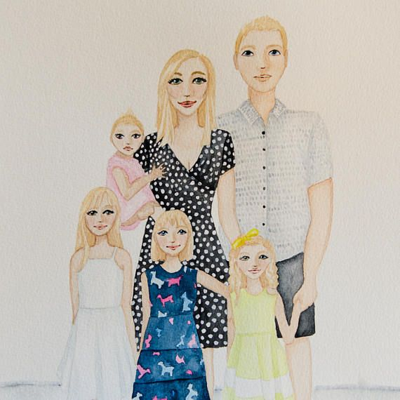****SPECIAL INTRODUCTORY PRICE****  This is a listing for an original custom watercolour illustration of your family! It is a one-off piece of artwork created especially for you! This price includes 6 people/pets. Additional people/pets can be purchased at $20 per person $10 per pet.  These are examples of the style I will create your original portrait in. Please make sure you are happy with my style before proceeding as once receiving your photos I like to work on your portrait to ...