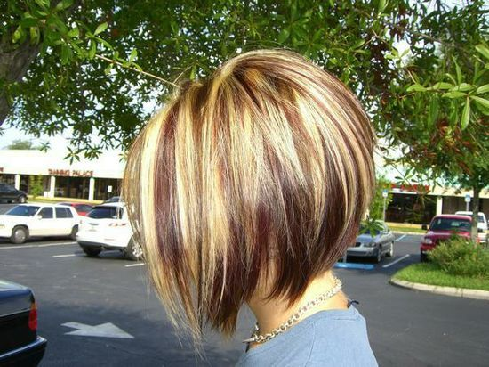 Braid Hair Style: Red Blonde and Brown Highlights with an Inverted Bob cut