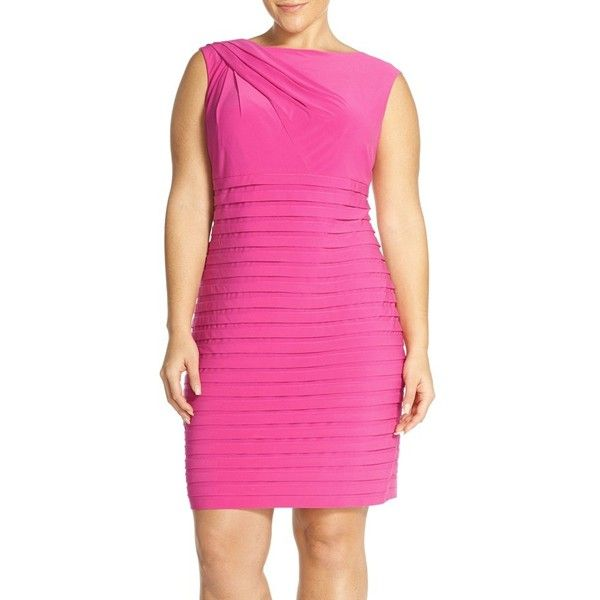 Adrianna Papell Shutter Pleat Sheath Dress ($160) ❤ liked on Polyvore featuring plus size women's fashion, plus size clothing, plus size dresses, cosmo pink, plus size, women plus size dresses, evening dresses, deep v neck cocktail dress, pink cocktail dress and plus size holiday dresses