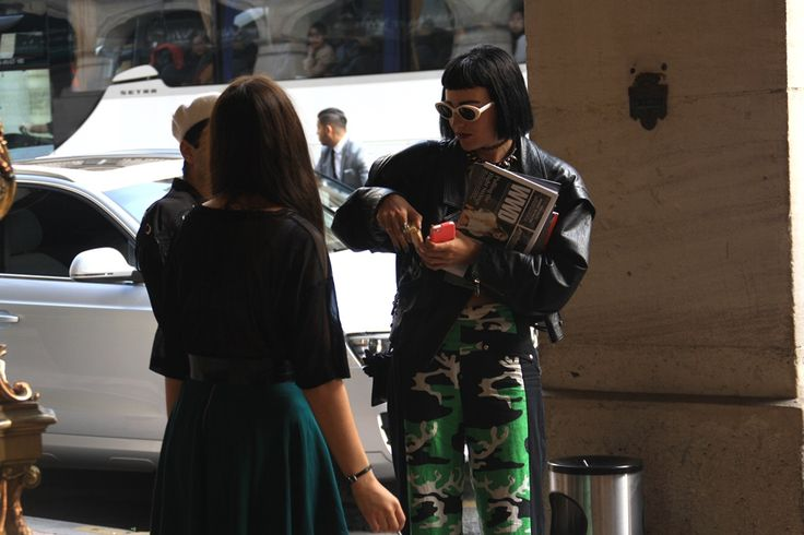 Army green. Paris Fashion Week Streetstyle, by Lois Spencer-Tracey of Bunnipunch