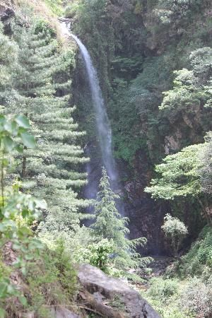 The as yet unnamed waterfalls within 1 km trek from the cottages on the  River Tirthan in Ghaidhar, Kullu , India