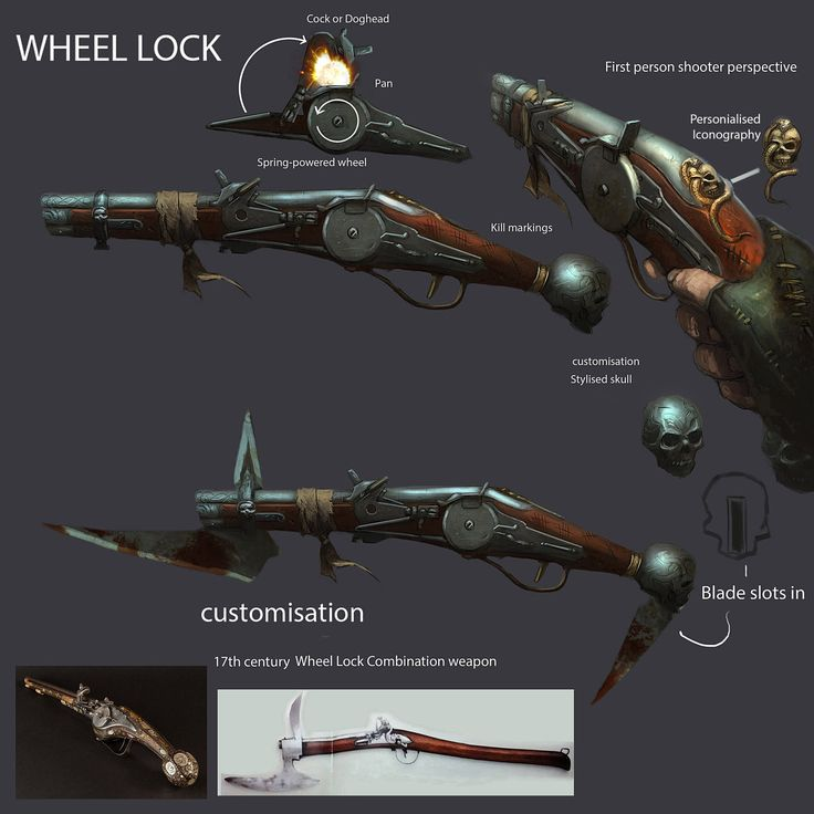 Wheellock17th century pistol concept. by JohnMcCambridge gun knife dagger hidden compartment weapons equipment gear magic item | Create your own roleplaying game material w/ RPG Bard: www.rpgbard.com | Writing inspiration for Dungeons and Dragons DND D&D Pathfinder PFRPG Warhammer 40k Star Wars Shadowrun Call of Cthulhu Lord of the Rings LoTR + d20 fantasy science fiction scifi horror design | Not Trusty Sword art: click artwork for source