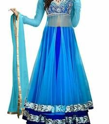 Buy Blue embroidered dupion silk unstitched lehenga ghagra-choli online