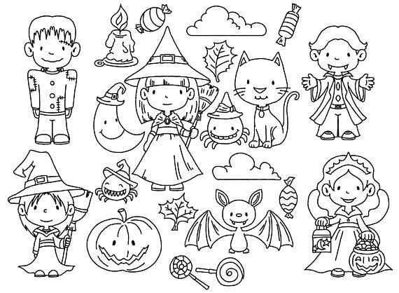 Halloween Digital Stamps  Black & White clipart shaggy line