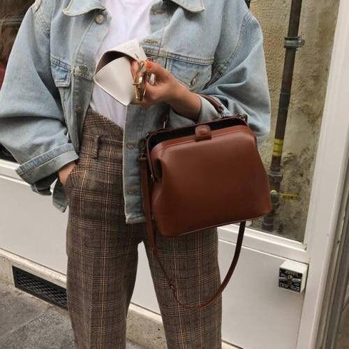 check trousers | white t shirt | denim jacket | brown bag