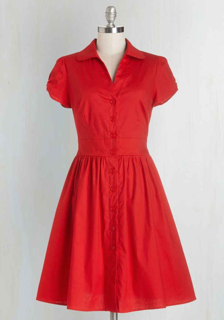 Summer School Cool Dress. Teach your students about signature style by sporting this red shirt dress - A ModCloth exclusive! #red #modcloth