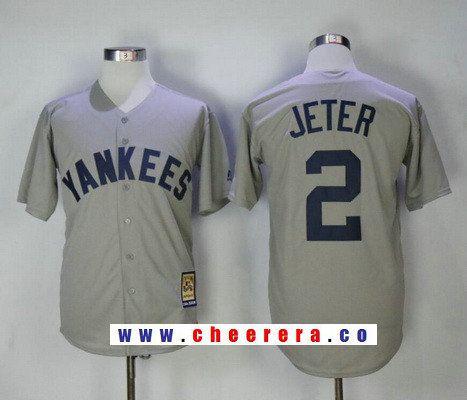 premium selection b4519 7b7dd Men's New York Yankees #2 Derek Jeter Gray Road Cooperstown ...