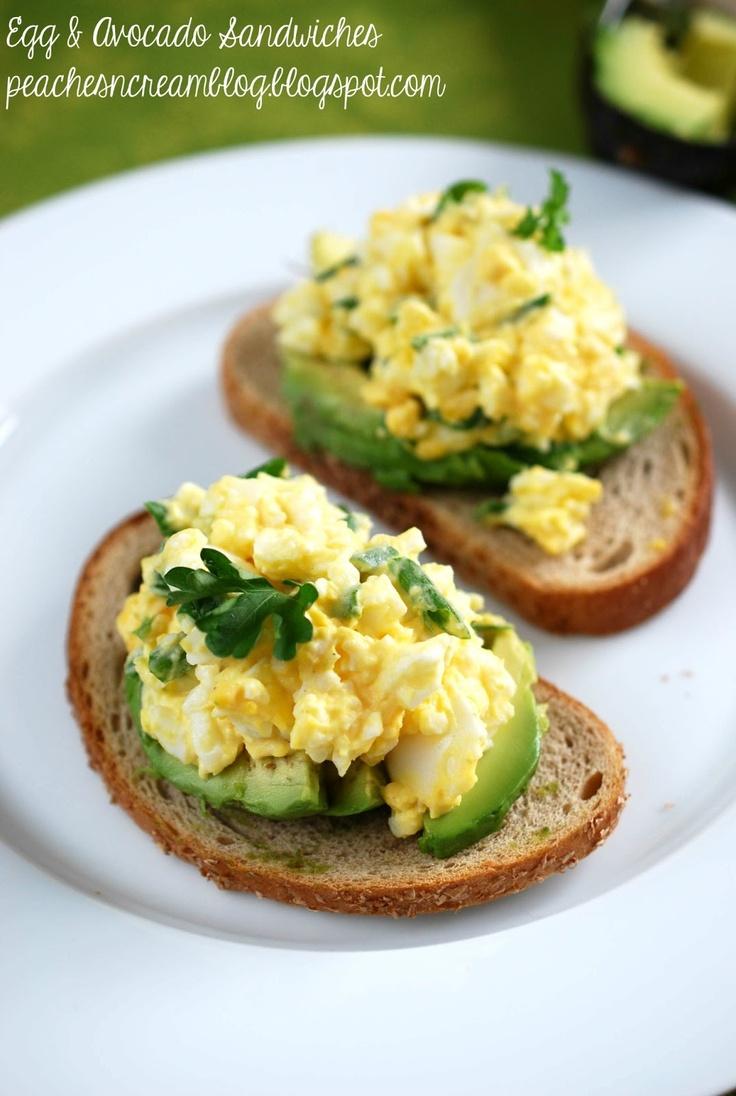 Egg & Avocado Sandwiches :: eggs, mayo, salt, pepper, green onions, avocado, rye bread.