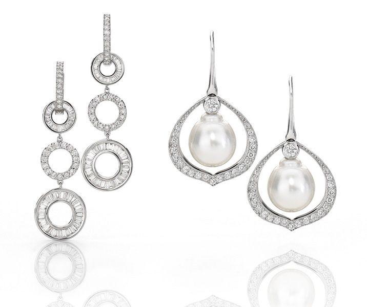 Australian South Sea pearl drop earrings pictured right