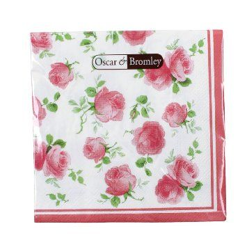 Shabby Chic Napkins - (Pink Flower Napkins - Pack of 16): Amazon.co.uk: Kitchen & Home