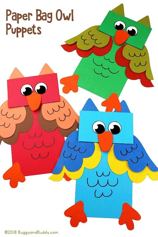 Colorful Owl Puppet Craft for Kids with Printable Template Buggy