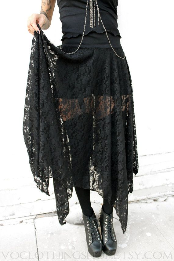 WITCHY BLACK LACE long sheer maxi skirt free by voclothingshop