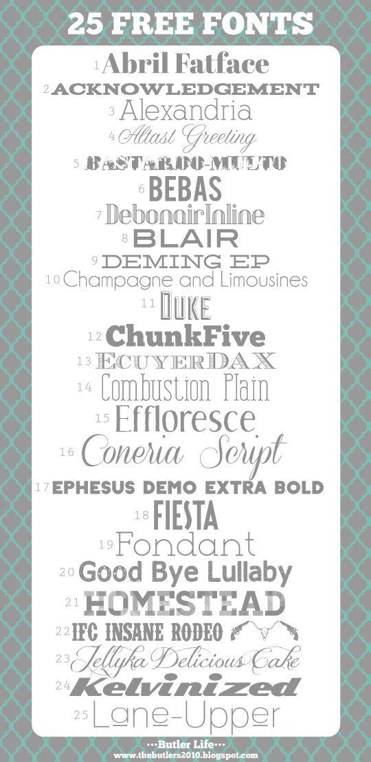 25 Favorite Free Fonts