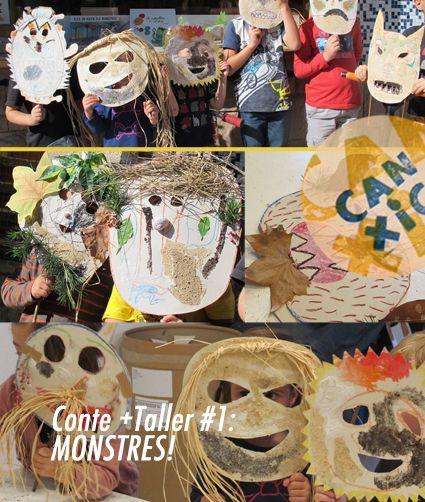 Primer conte-taller a Can Xic: Monstres! hem fet màscares amb elements naturals: Fulles per banyes, cargols per a nas, bigotis de ràfia, dents de pinyes...