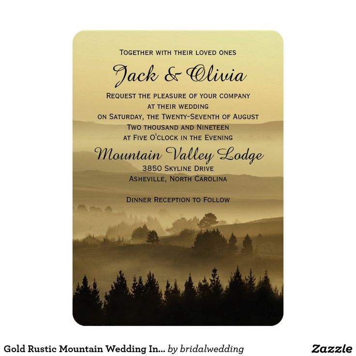 cheap0th wedding anniversary invitations%0A Gold Rustic Mountain Wedding Invitation