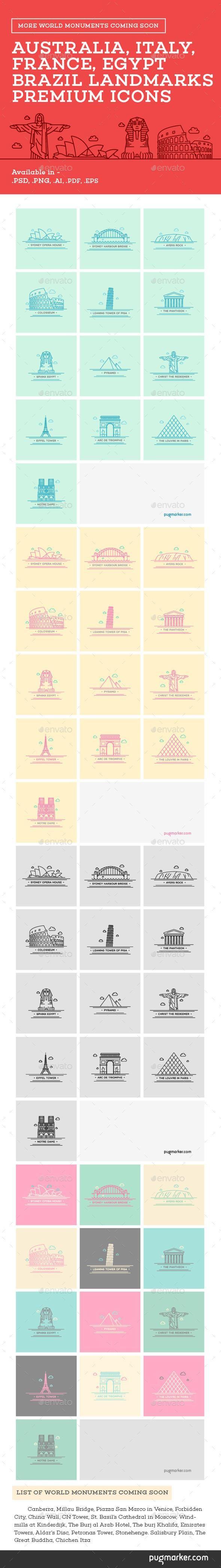 World Landmarks Icons - Vol. 1
