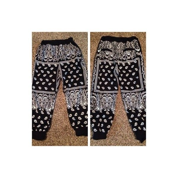 Black Bandana Joggers Thug Fashion Online Store Powered by Storenvy ($50) ❤ liked on Polyvore featuring pants, jeans and thugave