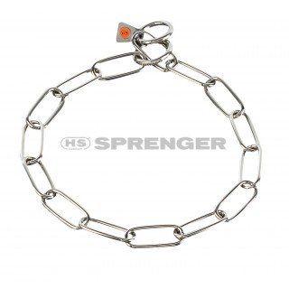 Aus der Kategorie Gliederhalsbänder  gibt es, zum Preis von EUR 14,40  Ultraleichte Hundehalskette aus Edelstahl vom Markenhersteller Sprenger. <br><br> Die Premiumklasse, wenn man von Kettenhalsbändern, Gliederhalsbändern oder Würgern spricht. <br><br> Hundehalskette mit langen Gliedern, also Typ: Langglied. <br><br> Die Halskette hat 2 Ringe an den Enden.<br> Das Gliederhalsband ist aus hochwertigem Edelstahl gefertigt. <br><br> Das Kettenhalsband kann auf Zug eingestellt werden.<br> So…