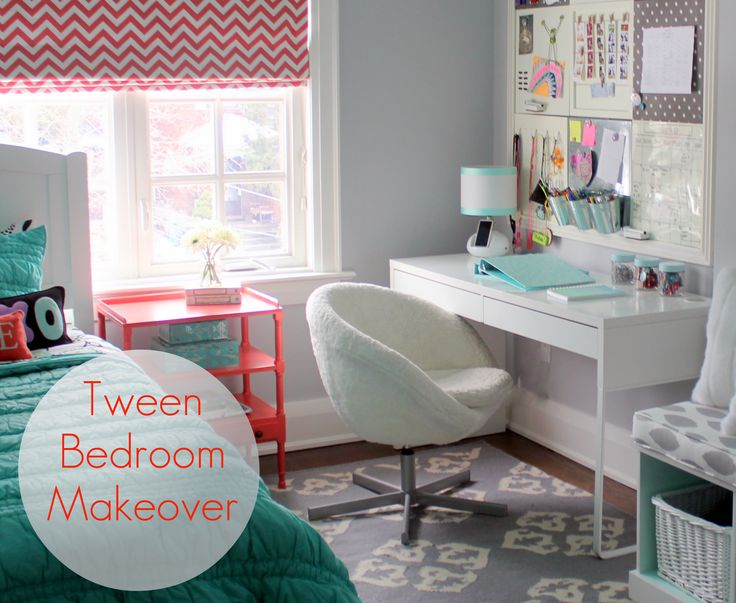 girl's tween bedroom before and after photos