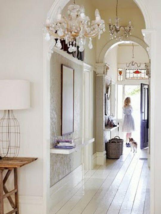Foyer - white floors: Interior, Ideas, Chandelier, Dream, House, Entryway