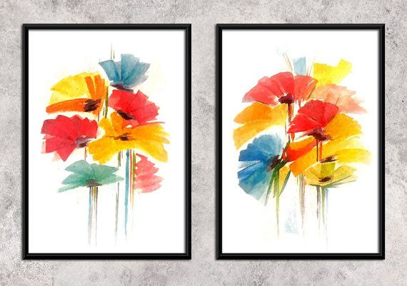 colorful flowers   Watercolor Art Print  Wall Decor by ArtCCarol