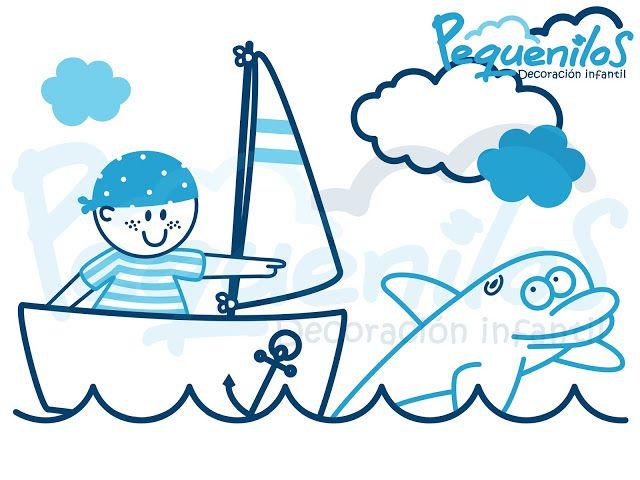 Pequenilos: Niño viajando en barco y delfín