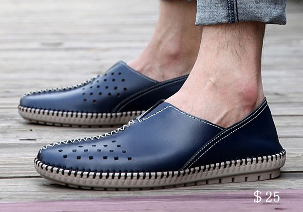 US $25 Summer Men Espadrille Casual Flats Shoes Big Plus Size Loafers Boat Shoes Flat Shoes Driving Cut Out Holes Breathable Big Size