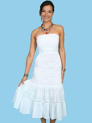 White Cotton Western Wedding Dress