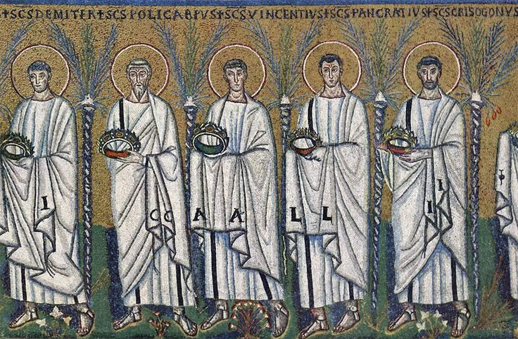 """Basilica of Sant'Apollinare Nuovo in Ravenna, Italy: """"Procession of the Holy Martyrs"""". Mosaic of a Ravennate italian-byzantine workshop, completed within 526 AD by the so-called """"Master of Sant'Apollinare""""."""