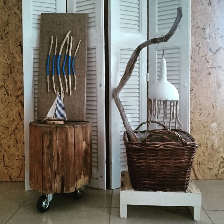 Greek Summer composition with wood and driftwood, blue and white details made from natural materials by thecreativehut.gr
