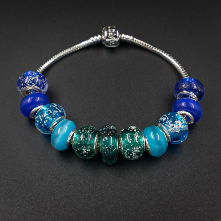 blue aqua sea surf european style large hole glass beads  Set matching European…