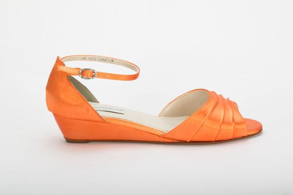 Orange Wedding Shoe  Wedding Shoes  Orange Wedge  by Parisxox