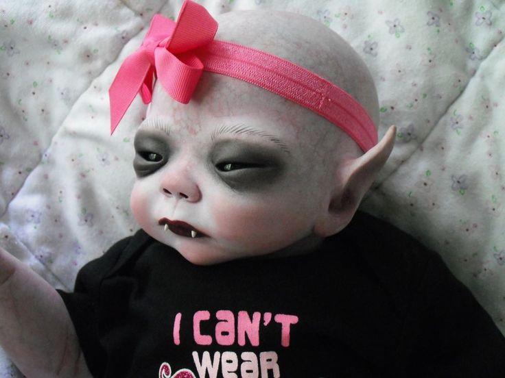 Ooak horror goth art doll ~Asian Vampire  baby ~Custom auction