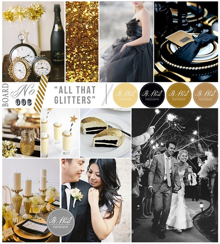 Black And Gold Wedding Reception Decorations: Black, White, Gold Inspiration Board