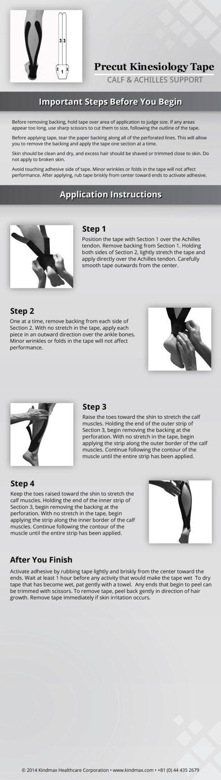 Calf achilles support application instructions #HowToTape #EasyToTape