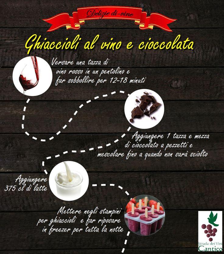 Ghiaccioli al #vino e #cioccolato  Il nostro suggerimento per un dessert semplice ma gustoso, adatto ad ogni occasione, e ovviamente a base di...vino!
