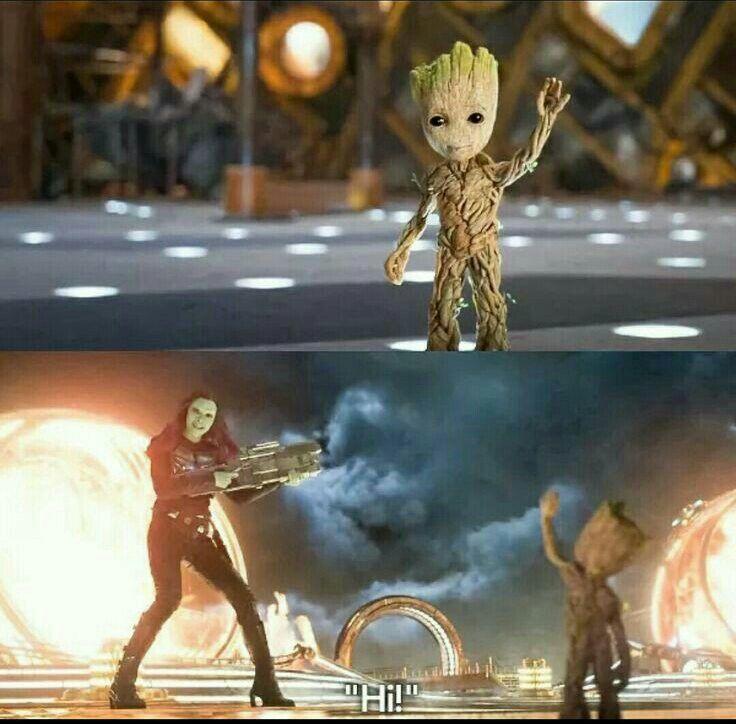"Groot saying ""Hi"" Gamora : ""Hi!"" * during a fight * Guardians of the Galaxy, vol 2"