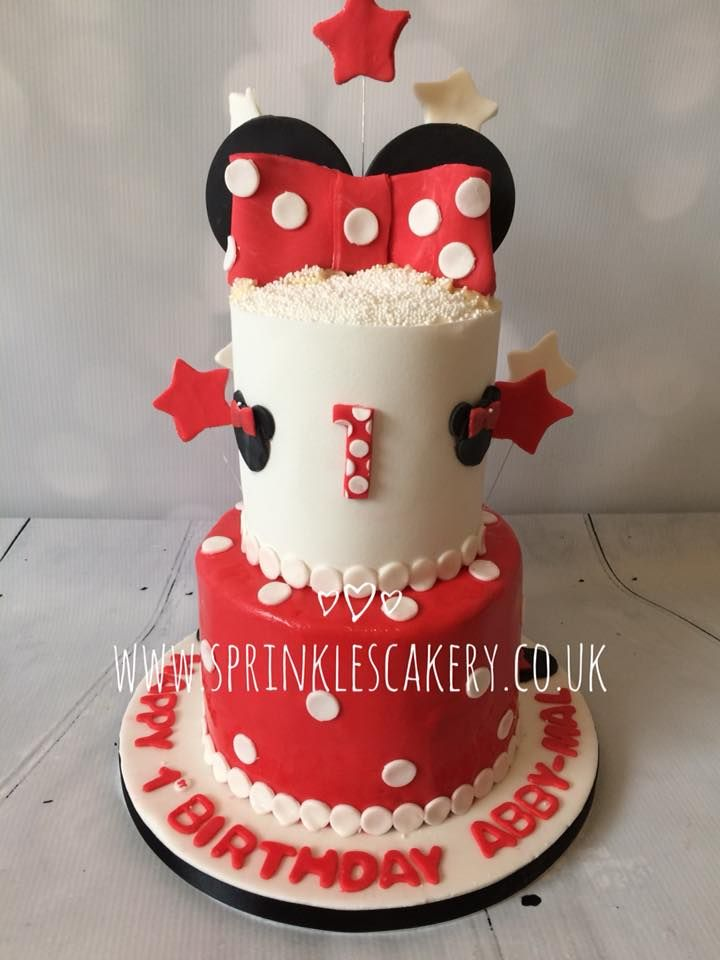 A 2 tier Minnie mouse themed cake decorated in fondant would be a real showstopper on any dessert table.