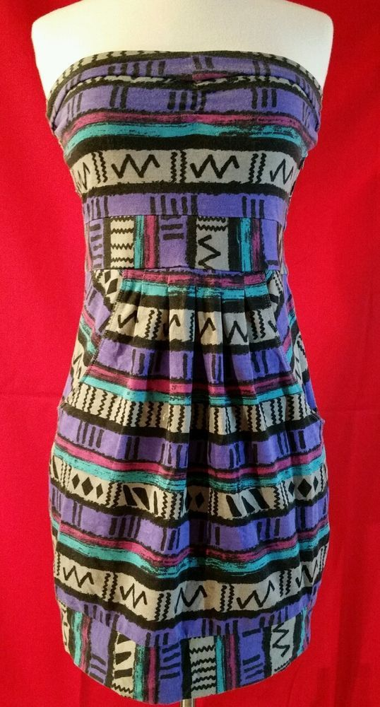 Billabong Strapless Purple Teal Black Gray Pink Aztec Tribal Mini Dress India M #Billabong #Maxi #Casual