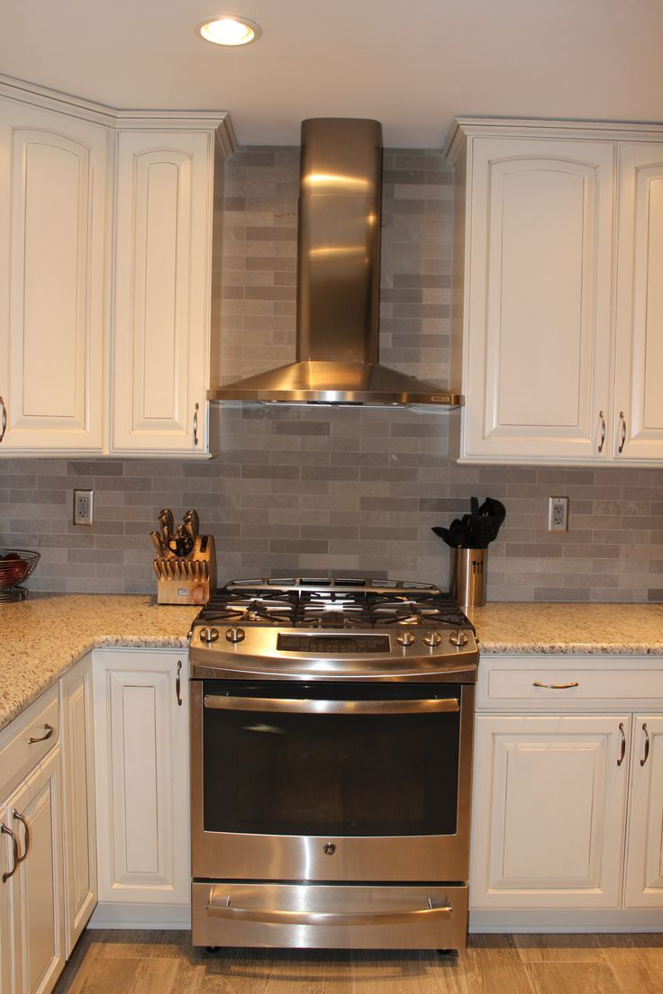 Ge Slide In Stove Broan Elite Chimney Hood Lady Grey Brushed Stone Backsplash Ornamental