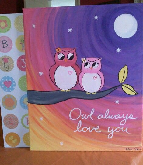 Owl always love you painting on canvas for girl's room.