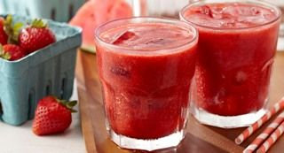 Lemon Watermelon Strawberry Slush: This icy beverage is a great way to escape the heat and enjoy a healthy helping of fresh fruit.