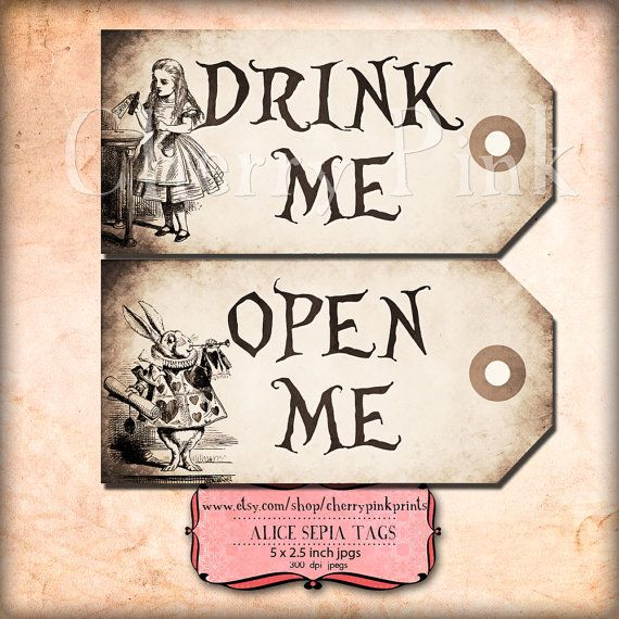 The 25 best alice in wonderland invitations ideas on pinterest alice in wonderland tags sepia alice tags alice in pronofoot35fo Gallery