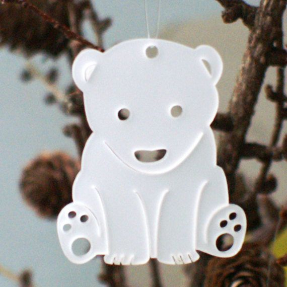 In the shop now!  3 polar bear cubs in white transparent plexiglas / perspex plastic