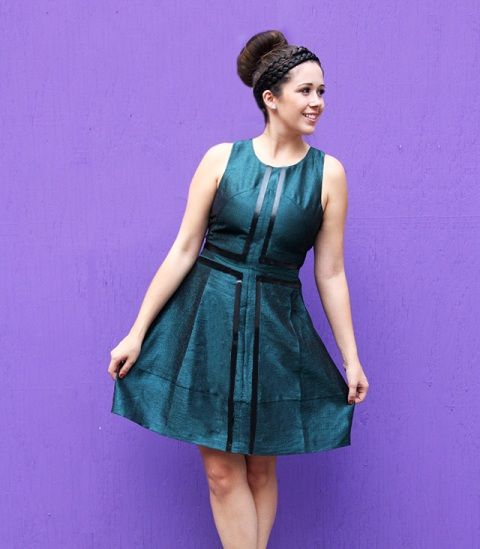 Geometric DIY Leather Striped Dress