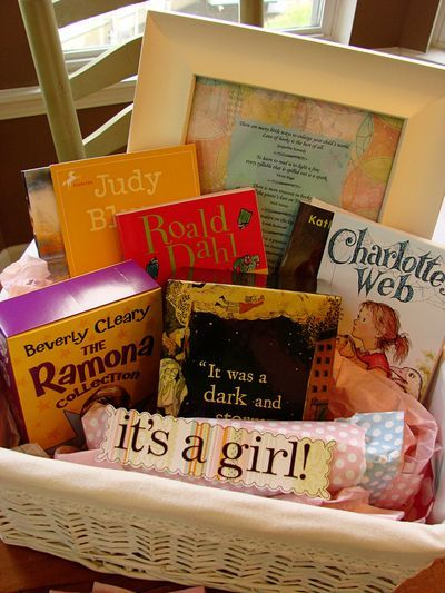 I saw this before, @Emily Cox and thought it was neat - everyone brings a book that they loved as a young girl to start her library (or maybe a book for the baby as a baby so they are more immediately useful) - either way, cute!    Book themed baby shower?  A starter library for a baby gift! SUCH an awesome idea! I love this, especially since I LOVE to read.