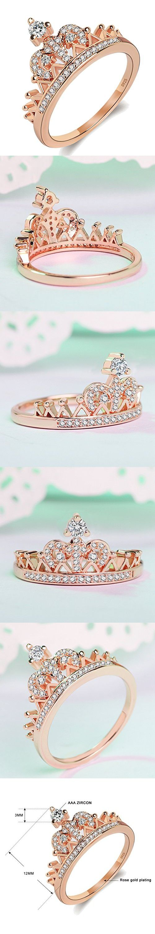 Women's Crown Tiara Rings Exquisite 18K Rose Gold Plated Princess Tiny CZ Diamond Accented Promise Rings for Her Size 10