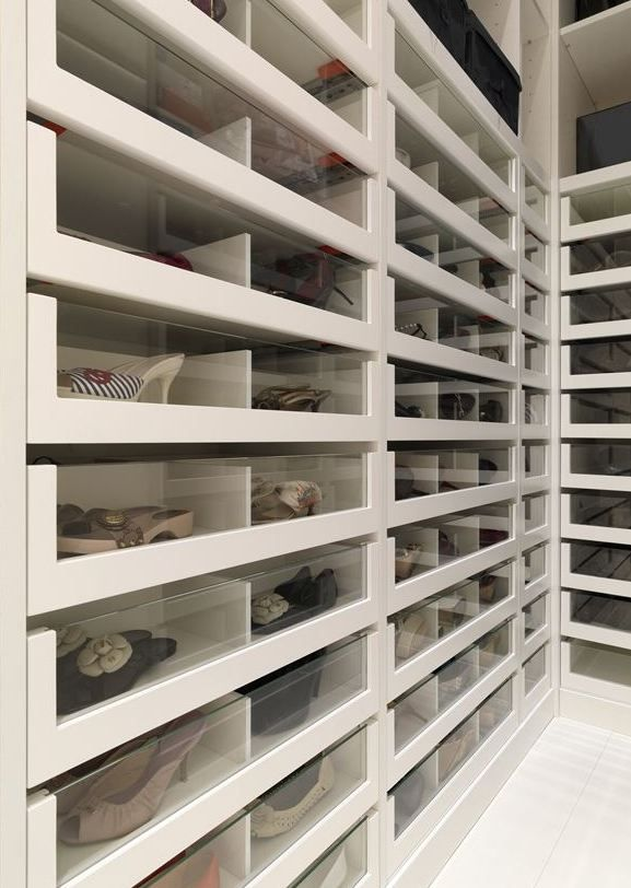 Glass-front drawer shoe storage. OMG, I need this closet!
